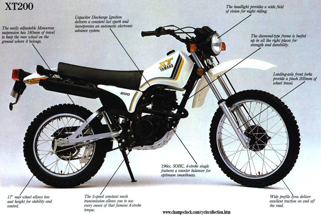1983 - 1983 Yamaha XT200 My first 4 stroke. Was a good bike but I weighed
